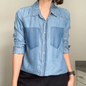 Forever 21 Chambray Button Up Long Sleeve Denim
